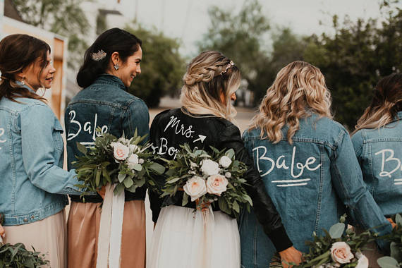 a94641459e3 We re sure your bridesmaids would love a killer wedding day jacket as well!  Whether it s leather or a denim bridesmaid s jacket