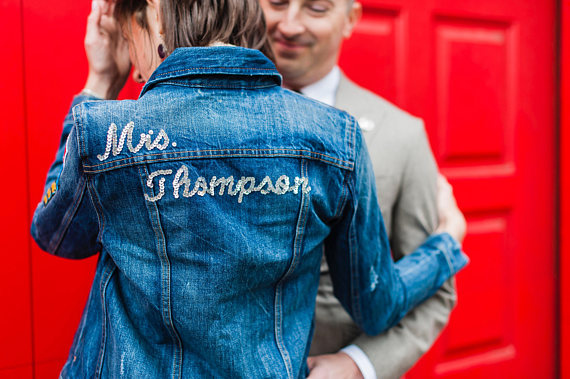 79f4e6364b3 Add some sparkle to your wedding day with this one! Who wouldn t love a  hand sequined jacket on their wedding day ! Embroider it with your new last  name or ...